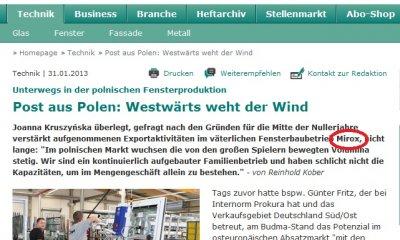 MIROX ma stabilną pozycję na rynku niemieckim